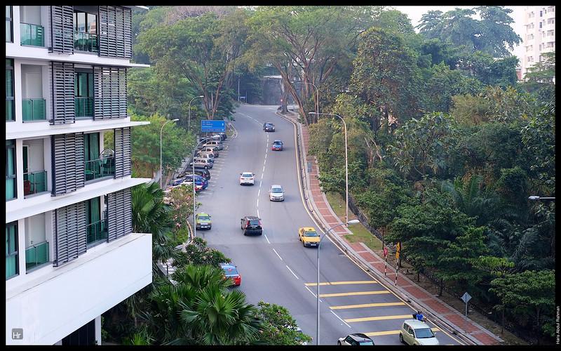 Up Jalan Bukit Pantai. View from my balcony.