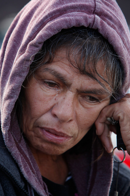 . Eva Marie Martinez, 63, a longtime resident of The Jungle homeless camp, is evicted Thursday, Dec. 4, 2014, from the Story Road site along the Coyote Creek in San Jose, Calif. (Karl Mondon/Bay Area News Group)