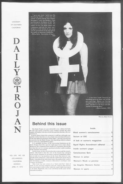Daily Trojan, Vol. 64, No. 105, April 17, 1972