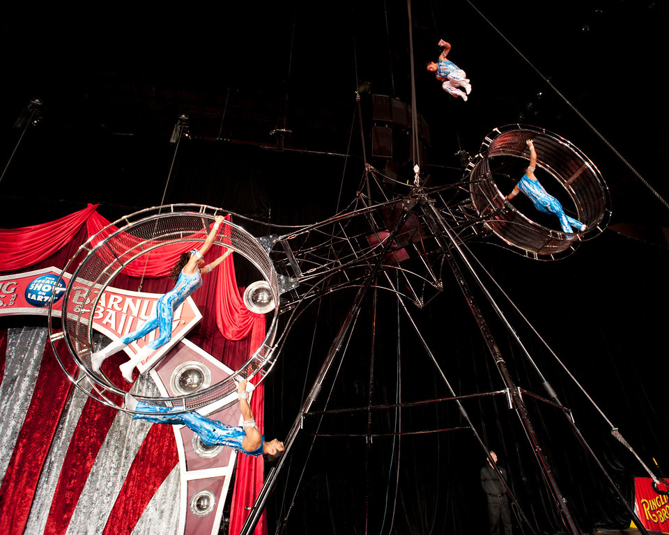 ". The Wheel of Steel flies high as part of Ringling Bros. and Barnum & Bailey\'s latest circus production, ""Built to Amaze,\"" which plays the Denver Coliseum Oct. 3-6 and the Pepsi Center Oct. 9-13."