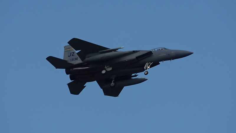 5-8-18...four of six F-15s returning from afternoon practice...shot from woodchip mound on North Rd...first time in years