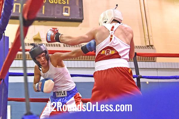 Bout 5 Ramone Santana, 15 yrs, 120 lbs, Coach T. Moore -vs- Mike Fasoline, 16 yrs, 125 lbs, Coach Tom Cordell