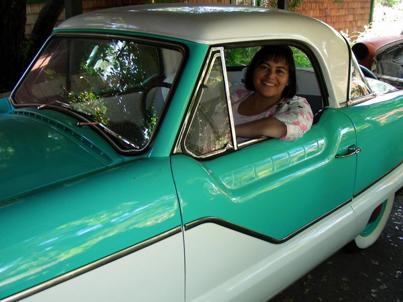 Phyllis and her 1960 Nash Metropolitan