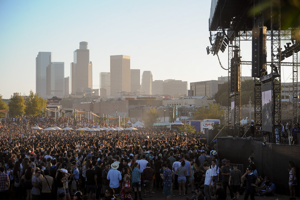 . FYF Fest at L.A. State Historic Park with a view of downtown, Saturday, August 24, 2013. (Michael Owen Baker/L.A. Daily News)