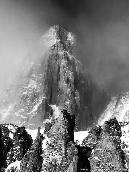 Mt. Whitney in Clouds Black and White