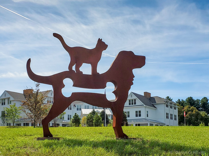 big dog & cat sculpture, by Dale Rogers
