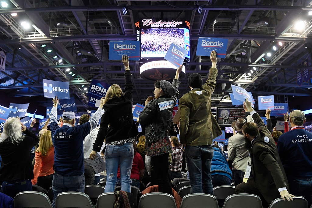 . Convention goers at the Colorado Democratic State Convention at the Budweiser Events Center April 17, 2016. (Photo by Andy Cross/The Denver Post)