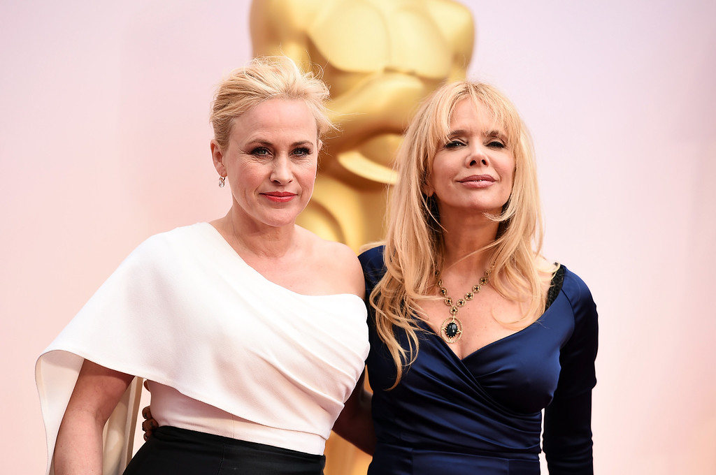 . Patricia Arquette, left, and Rosanna Arquette arrive at the Oscars on Sunday, Feb. 22, 2015, at the Dolby Theatre in Los Angeles. (Photo by Jordan Strauss/Invision/AP)
