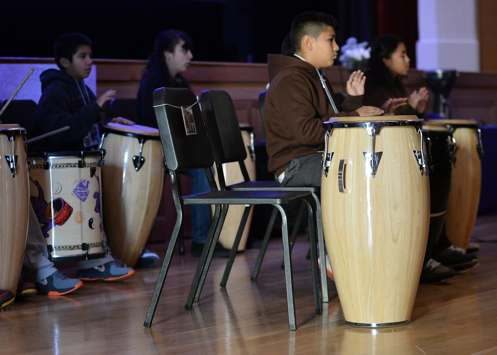 . An empty seat is held in the drum section in memory of slain teenager Lee Weathersby III held at Alliance Academy in Oakland, Calif. on Wednesday, Jan. 8, 2014. (Kristopher Skinner/Bay Area News Group)