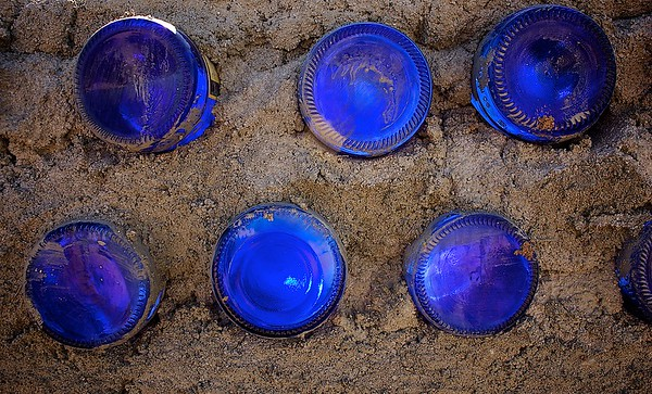 Blue Bottles in Sand<br /> Exhibits:<br /> CIAO Gallery, Jackson, WY - January 2010<br /> Barns & Noble Cafe, Fort Collins, CO - December 2009
