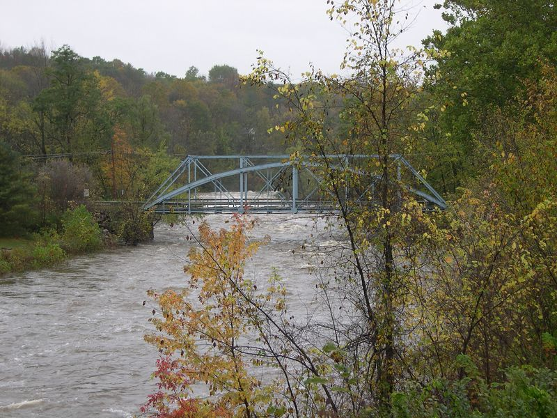 The iron bridge (circa 1870) crossing the turbulent Housatonic
