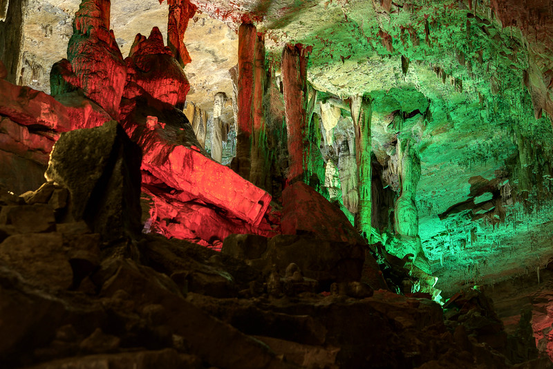 Christmas lights and decor brighten the inside of Cherokee Caverns in Knoxville, TN on Sunday, December 14, 2014. Copyright 2014 Jason Barnette