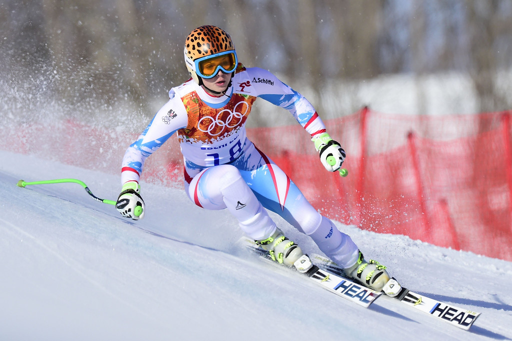 . Austria\'s Anna Fenninger competes during the Women\'s Alpine Skiing Super-G at the Rosa Khutor Alpine Center during the Sochi Winter Olympics on February 15, 2014.   OLIVIER MORIN/AFP/Getty Images