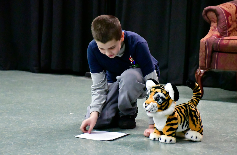 2/16/2019 Mike Orazzi | Staff Noah Devanney during a No Boundaries Youth Theater acting class at the New Britain-Berlin YMCA in Berlin Saturday morning.