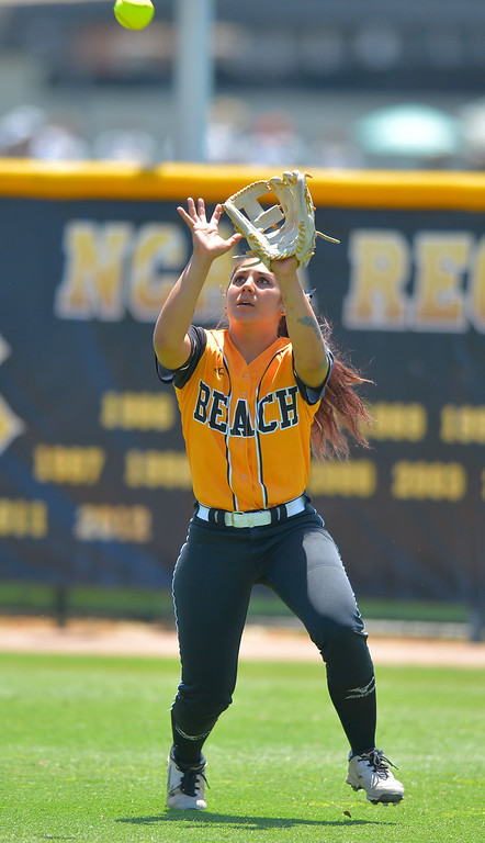 . LBSU\'s Leilani Tupua-Tautalatasi makes a catch in center field as LBSU lost to Cal Poly softball 3-0 in Long Beach, CA on Sunday, May 4, 2014.  (Photo by Scott Varley, Daily Breeze)