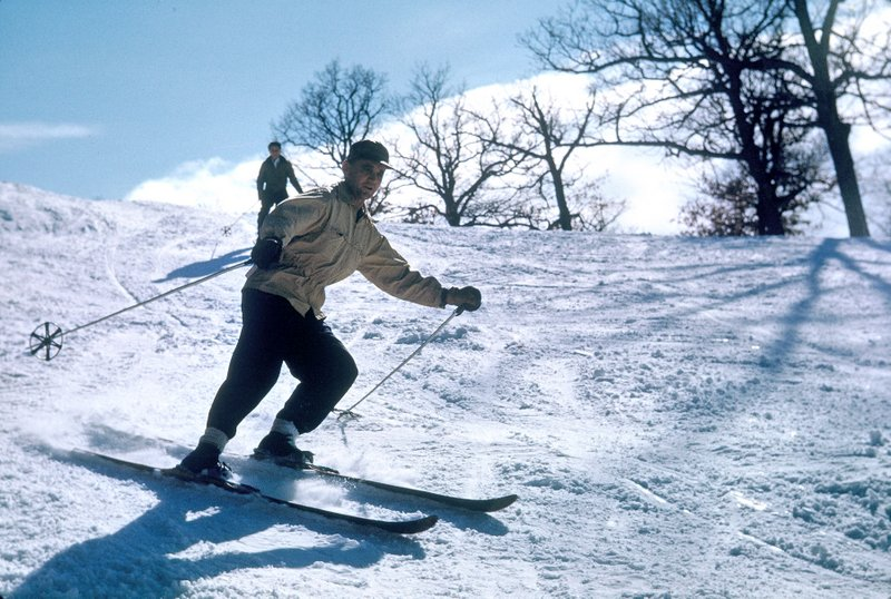 "Description of . Continues NORSKE of White Bear: ""This picture shows my father, Buster Johnson, skiing at North Oaks in 1950."