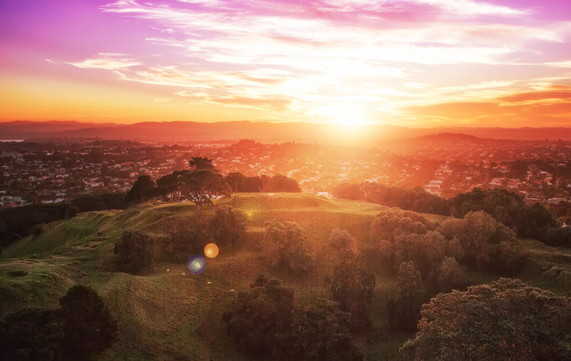 Sunset, Cornwall Park, at the top