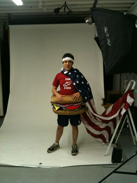 Because the picture in the old Elliot House squash court at Harvard didn't work due to the walls being too dirty we did a photoshot of Sam in a studio.  The American flag is a nice addition, helped by the step latter to seem like it is flowing in the air.  Fun to see the behind the scene of the photo.  A photo from this photoshoot was used in a campaign that Sam was able to raise 14k for Citizen Schools.