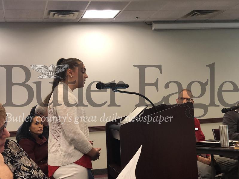 Miranda Larson, a student at Ryan Gloyer Middle School, addresses Cranberry Township supervisors Thursday.