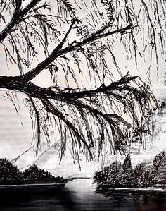 """Hidden Cove"" (ink) by Jerri Burrell"