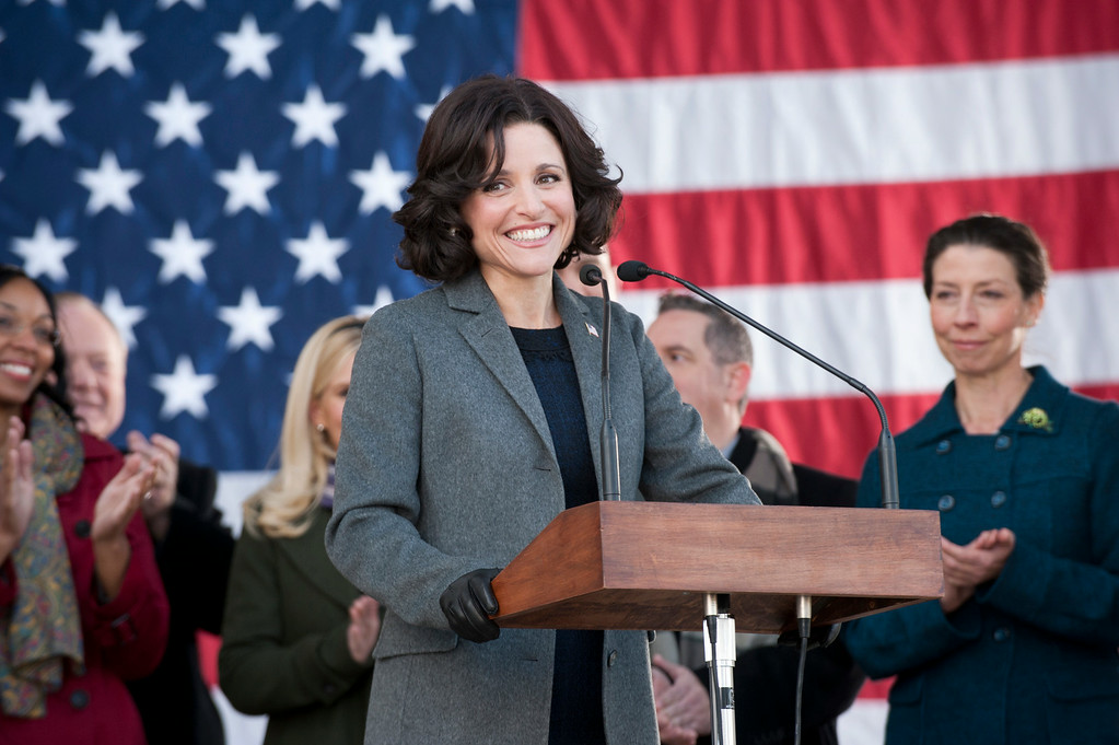 """. This publicity image released by HBO shows Julia Louis-Dreyfus in the comedy series \""""Veep.\"""" Louis-Dreyfus was nominated for an Emmy Award for best actress in a comedy series on Thursday, July 10, 2014. The 66th Primetime Emmy Awards will be presented Aug. 25 at the Nokia Theatre in Los Angeles. (AP Photo/HBO, Lacey Terrell)"""
