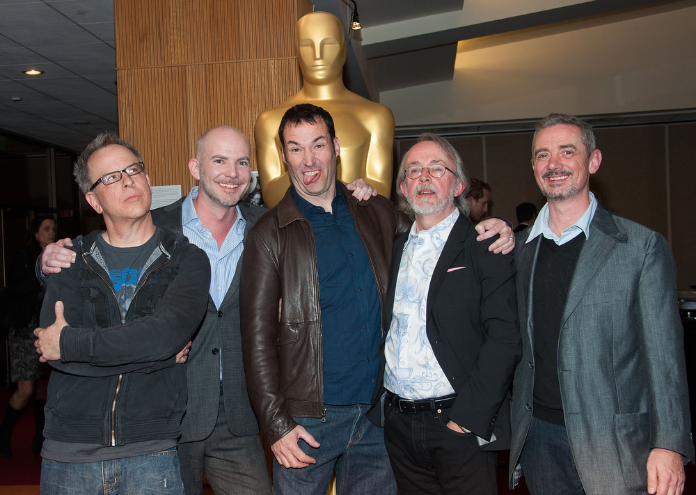 Description of . Rich Moore, Chris Butler, Mark Andrews, Peter Lord and Sam Fell attends The Academy Of Motion Picture Arts And Sciences Presents Oscar Celebrates: Animated Features  at the Academy of Motion Picture Arts and Sciences on February 21, 2013 in Beverly Hills, California. (Photo by Valerie Macon/Getty Images)