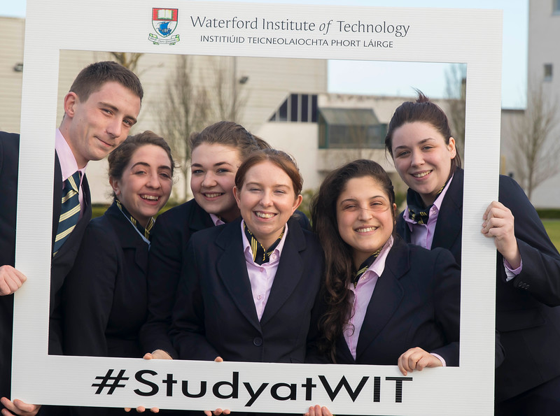 05/04/2016. Waterford Institute of Technology (WIT) CAO Information Evening are Mark Mills, Katie Wybrant, Caitlin O'Mahony, Nikki Byrne, Maria Pelonero and Shauna Thomas. Picture: Patrick Browne  Prospective students travelled from far and wide to the Waterford Institute of Technology (WIT) CAO Information Evening on Tuesday 5 April to hear in detail about the brand new WIT President's Scholarship Programme worth up to €12,000 a year for five students. For September 2016, WIT is offering an exciting new scholarship scheme which encourages and rewards young people who show a capacity to shape a better society. WIT has 70 CAO courses. Details are available at www.wit.ie/caoscholarship