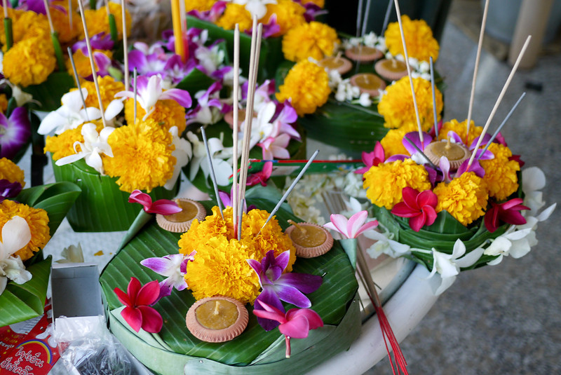Our finished handmade krathongs during Loy Krathong in Chiang Mai, Thailand