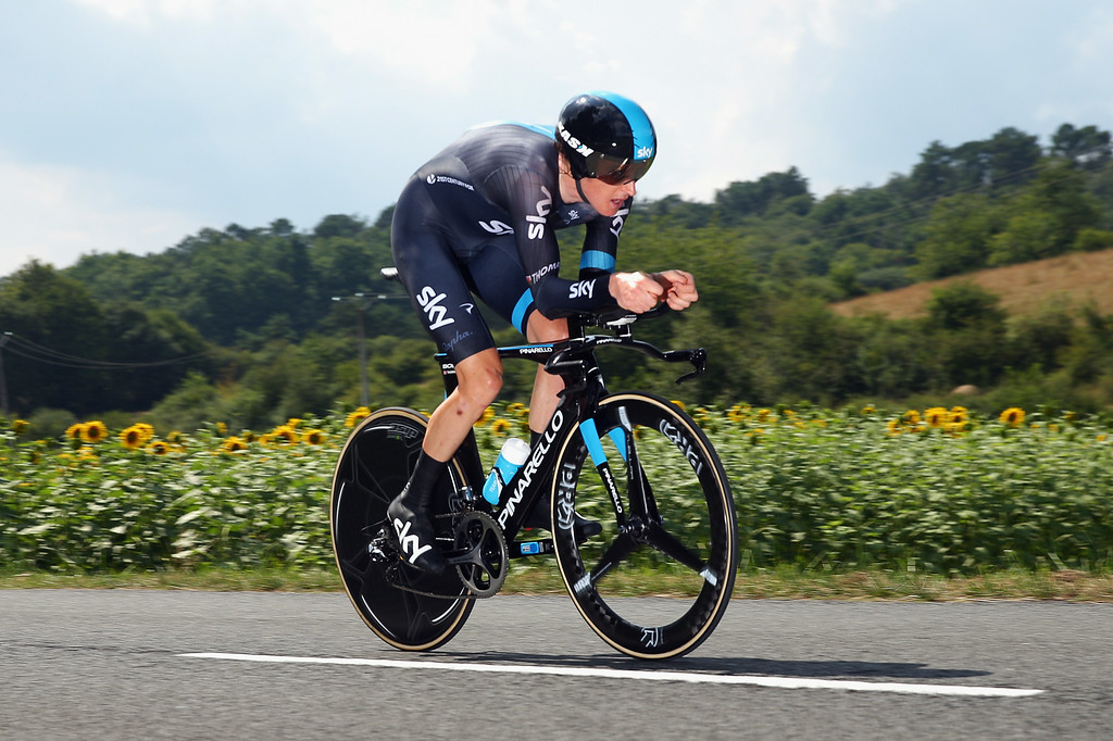 . Geraint Thomas of Great Britain and Team SKY in action during the twentieth stage of the 2014 Tour de France, a 54km individual time trial stage between Bergerac and Perigueux, on July 26, 2014 in Perigueux, France.  (Photo by Bryn Lennon/Getty Images)