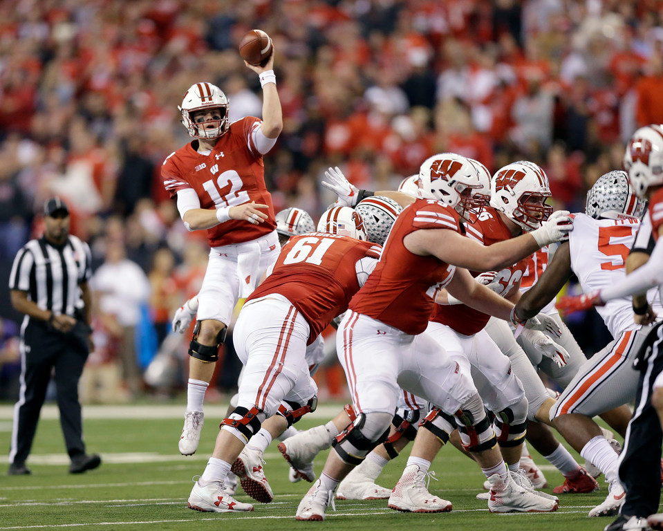 . Wisconsin quarterback Alex Hornibrook throws during the second half of the Big Ten championship NCAA college football game against Ohio State, Saturday, Dec. 2, 2017, in Indianapolis. (AP Photo/AJ Mast)