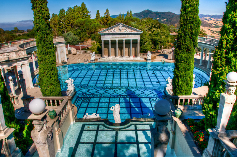 The view of the entire Neptune Pool, from above. You can see the Roman temple and the neat columns.