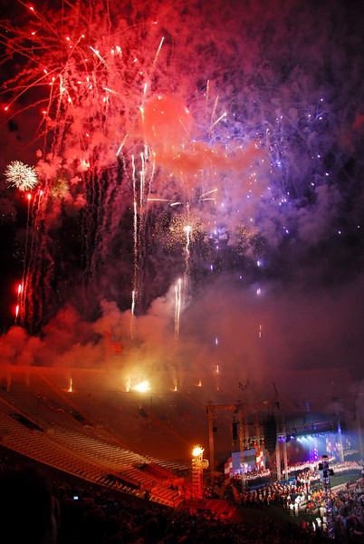 7/4/07 – The Fourth of July is great for photos. I had so many to pick from and it was hard to pick just one. This is from the Stadium of Fire event held in BYU's football stadium. On the big stage at the bottom right, the country western singers, Brookes and Dunn performed prior to the big fireworks.