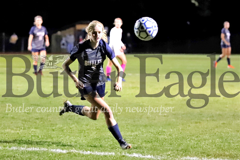 Butler senior McKenna Robinson makes a break on a ball during the Golden Tornados home loss to North Allegheny Wednesday. Seb Foltz/Butler Eagle