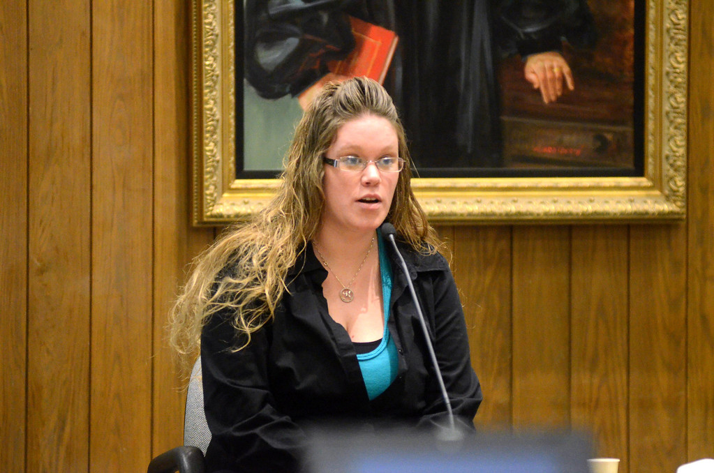 . Kyli Picker of Pittsfield testifies in the Adam Hall trial in Springfield on Wednesday, January, 22, 2014. Gillian Jones/Berkshire Eagle Staff