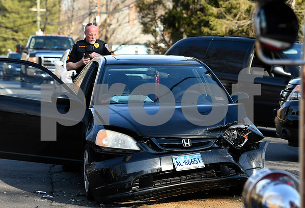2/28/2018 Mike Orazzi   Staff One of the two cars involved in a crash at the intersection of Washington and Central Streets in Bristol Wednesday afternoon. Two refused treatment.