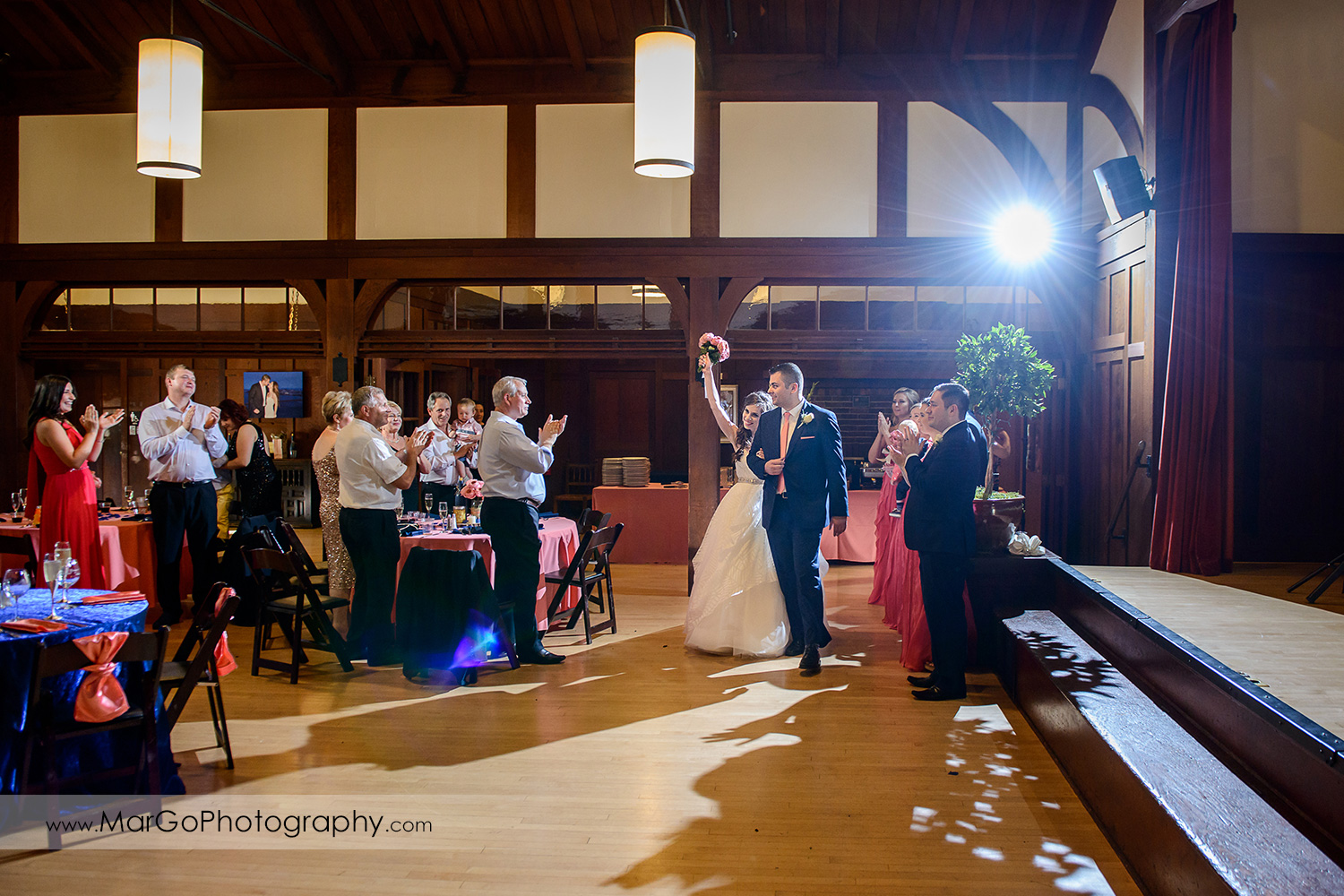 bride and groom entering wedding reception at Saratoga Foothill Club