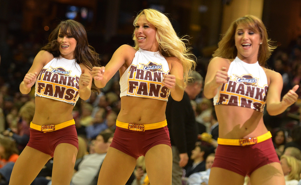 . Michael Allen Blair/Digital First Media The Cavalier Girls show their appreciation for the fans with special t-shirts for Fan Appreciation Night April 16 at Quicken Loans Arena.