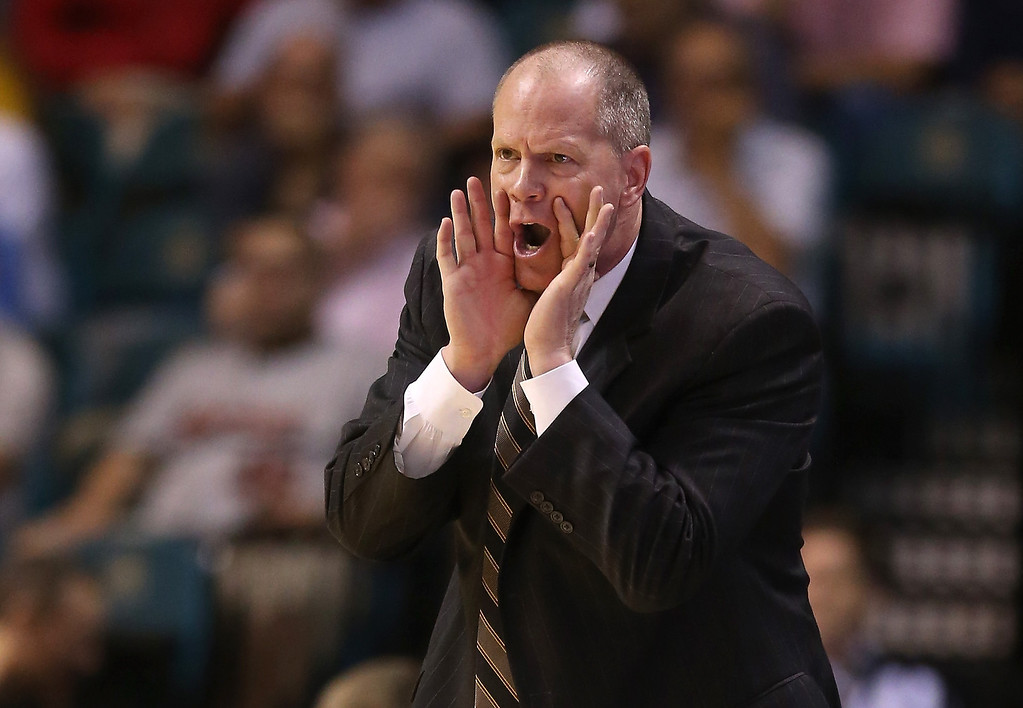 . Head coach Tad Boyle of the Colorado Buffaloes calls out in the first half against the Arizona Wildcats during the quarterfinals of the Pac-12 tournament at the MGM Grand Garden Arena on March 14, 2013 in Las Vegas, Nevada.  (Photo by Jeff Gross/Getty Images)