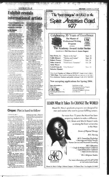 Daily Trojan, Vol. 150, No. 14, September 15, 2003