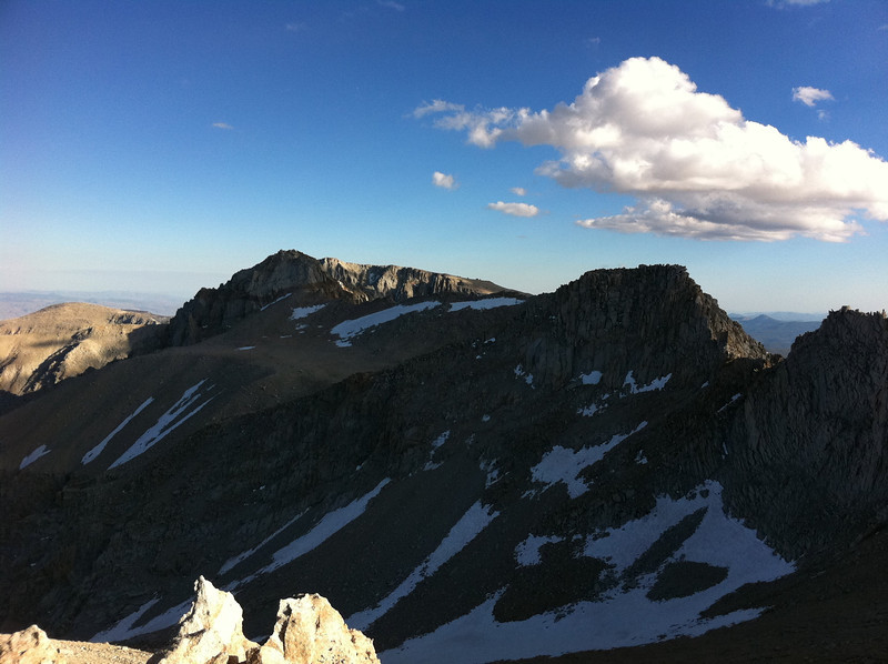 Taken with my iPhone.  Mt. Irvine summit view.  Mt. Mallory and Mt. Langley.