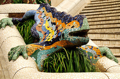 The famous dragon in Antoni Gaudi's Parque Güell in Barcelona, Spain.