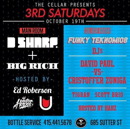 3rd Saturdays @ The Cellar -SF 10.19.13