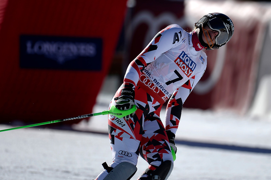 . Nicole Hosp of Austria reacts to her run during the ladies\' slalom. FIS Alpine World Ski Championships 2015 on Saturday, February 14, 2015. (Photo by AAron Ontiveroz/The Denver Post)