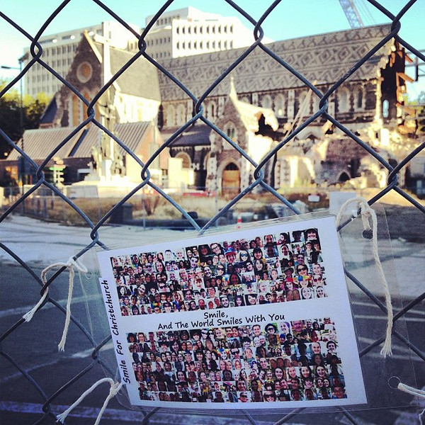 Smile for Christchurch: a message among the ruins of the city cathedral #chch