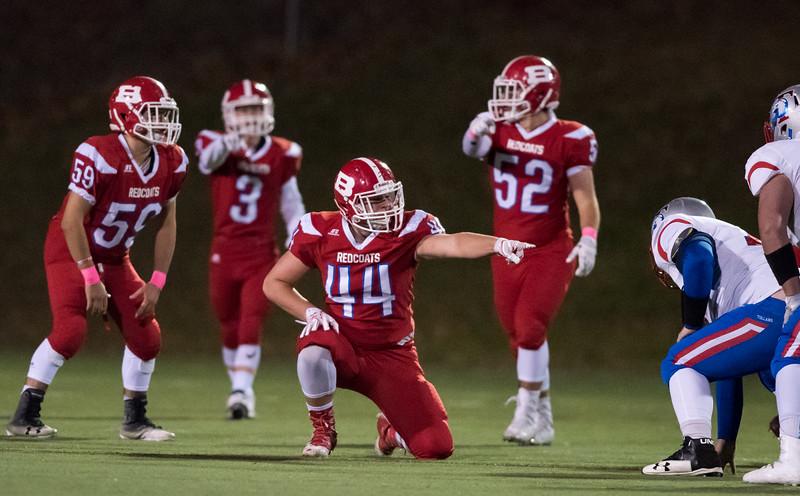 10/27/17  Wesley Bunnell | Staff  Tolland @ Berlin High School football on Friday evening at Sage Park. Captain Zachary Hrubiec (44)
