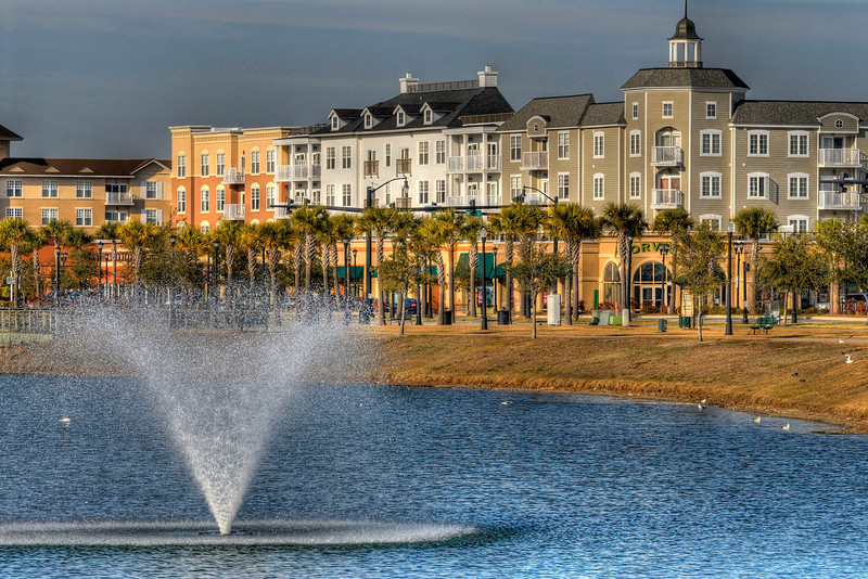 A view across the lake at The Market Common, a popular shopping, residential, and entertainment complex, in Myrtle Beach, SC on Wednesday, February 15, 2012. Copyright 2012 Jason Barnette