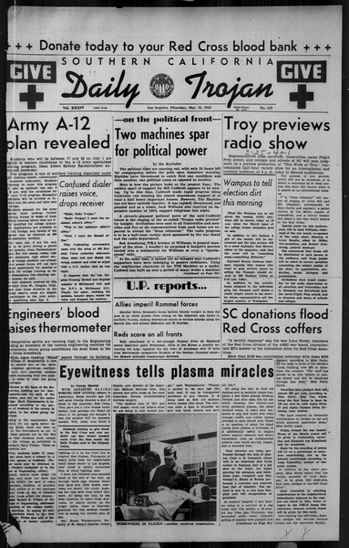 Daily Trojan, Vol. 34, No. 112, March 25, 1943