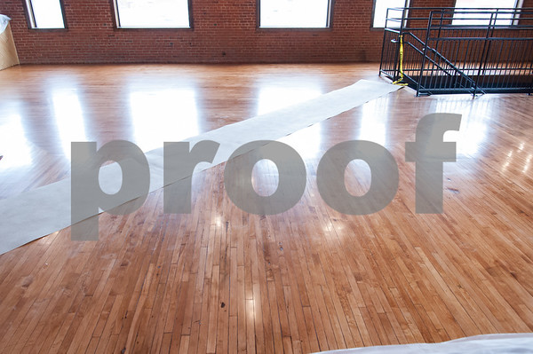 02/09/18 Wesley Bunnell   Staff Work continues on Friday afternoon at Five Churches Brewing at 193 Arch St in New Britain in anticipation of its grand opening that is yet to be determined. A newly refinished floor at the front of the facility.