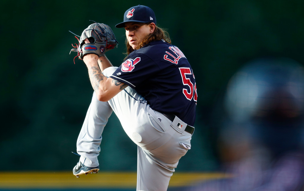 . Cleveland Indians starting pitcher Mike Clevinger delivers a pitch to Colorado Rockies\' Charlie Blackmon in the first inning of an interleague baseball game Tuesday, June 6, 2017, in Denver. (AP Photo/David Zalubowski)