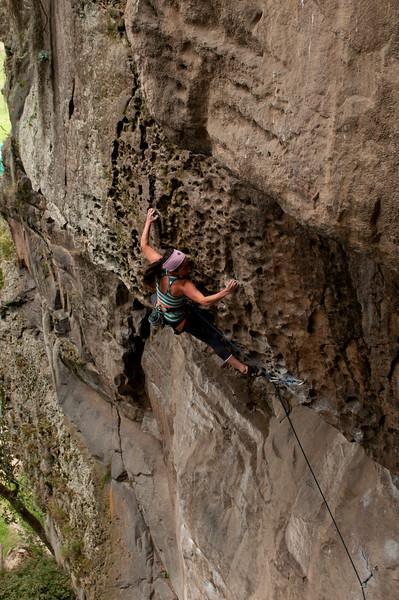 Viviana Gomez Vega climbing Paisanisate, 5.12a, Suesca, Colombia.